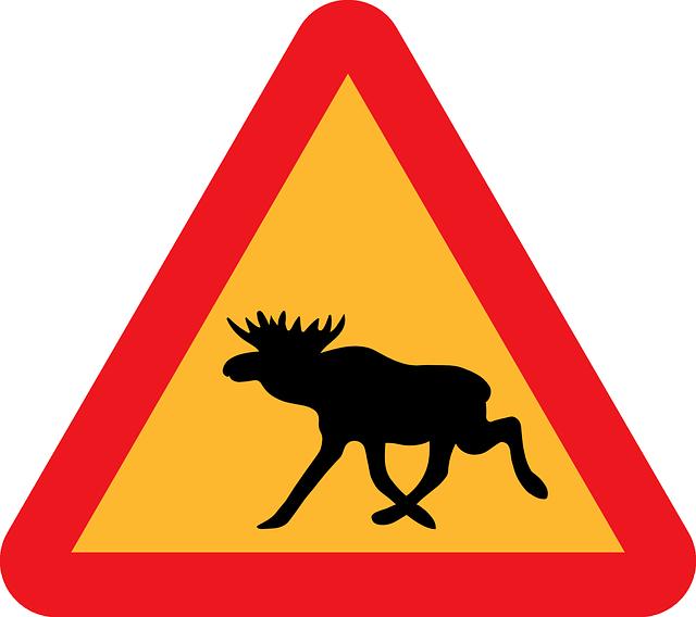 verkeersbord waarschuwing elanden